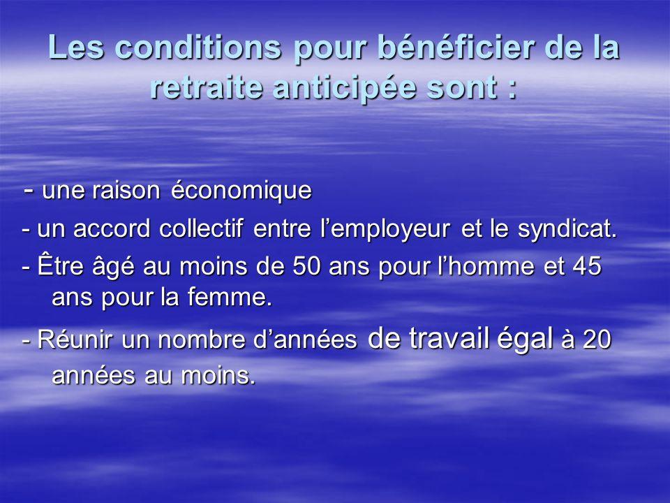 Les conditions pour bénéficier de la retraite anticipée sont :