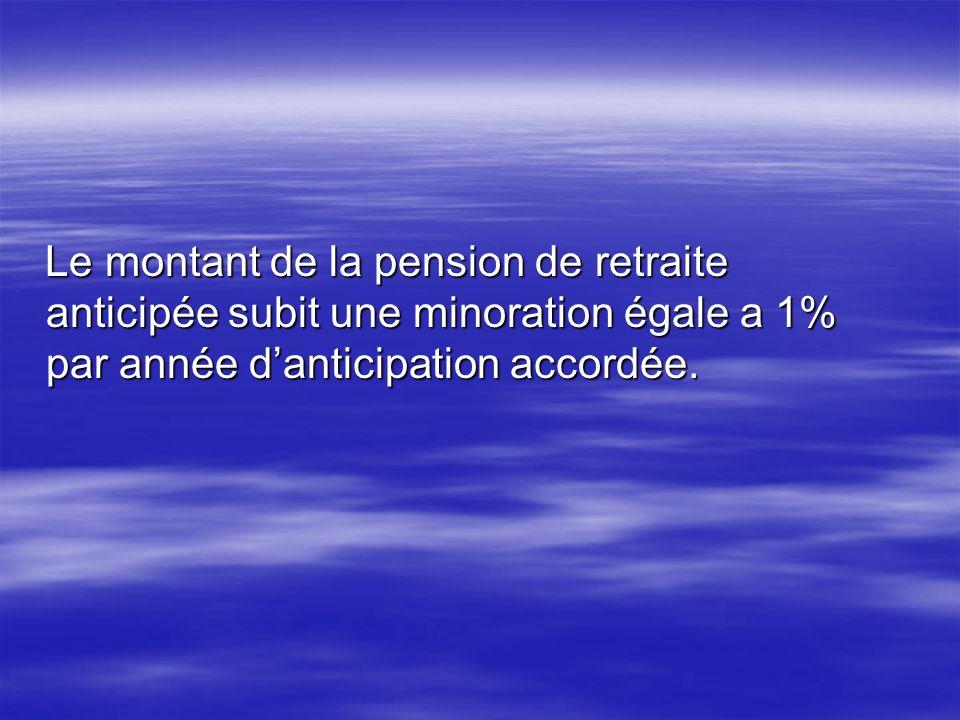 Le montant de la pension de retraite anticipée subit une minoration égale a 1% par année d'anticipation accordée.