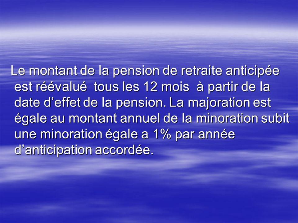Le montant de la pension de retraite anticipée est réévalué tous les 12 mois à partir de la date d'effet de la pension.