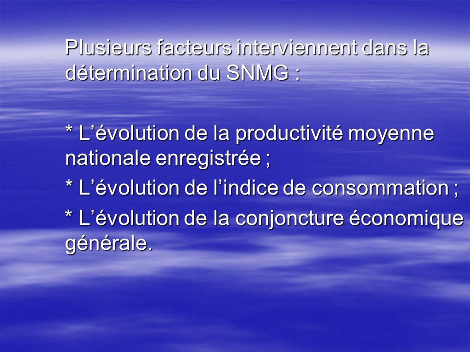 Plusieurs facteurs interviennent dans la détermination du SNMG :