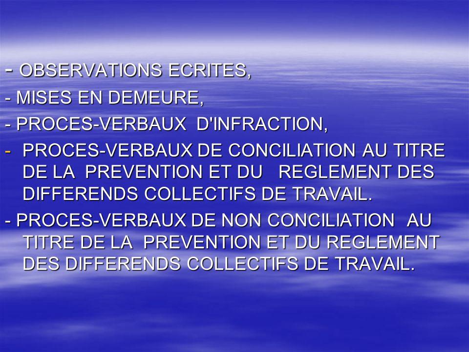 - OBSERVATIONS ECRITES,