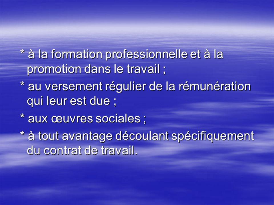 * à la formation professionnelle et à la promotion dans le travail ;