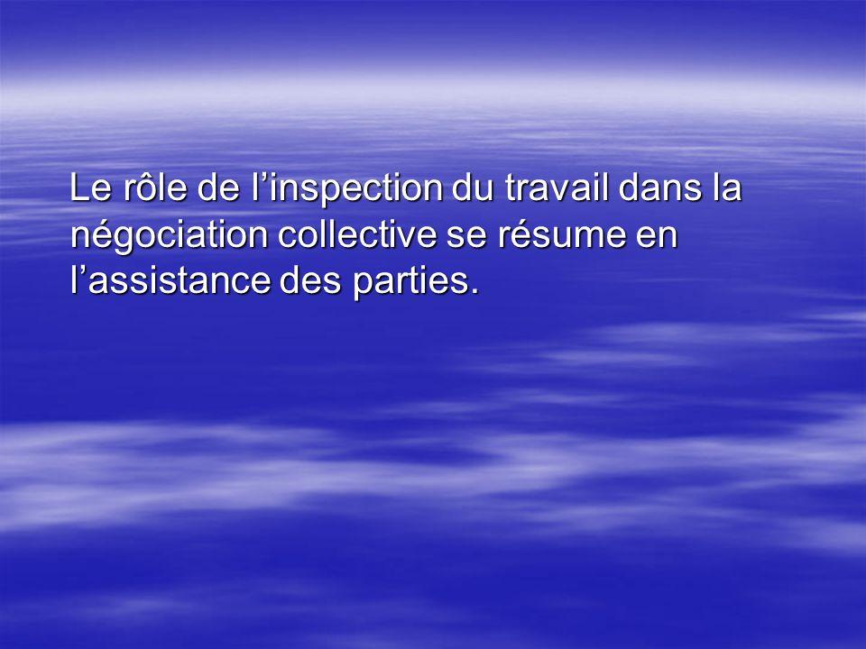Le rôle de l'inspection du travail dans la négociation collective se résume en l'assistance des parties.