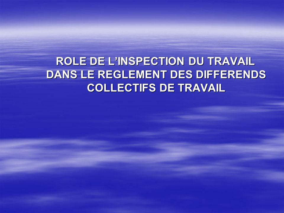 ROLE DE L'INSPECTION DU TRAVAIL DANS LE REGLEMENT DES DIFFERENDS COLLECTIFS DE TRAVAIL