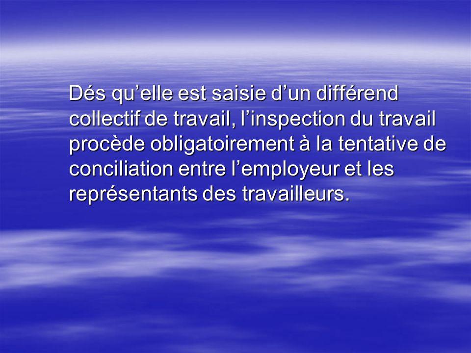 Dés qu'elle est saisie d'un différend collectif de travail, l'inspection du travail procède obligatoirement à la tentative de conciliation entre l'employeur et les représentants des travailleurs.