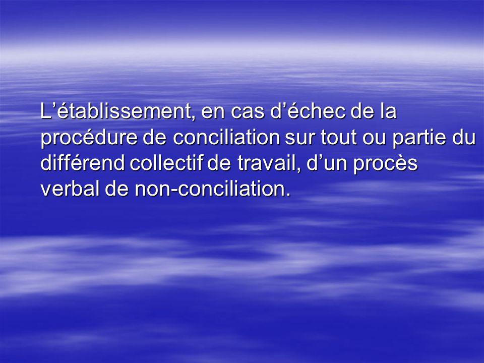 L'établissement, en cas d'échec de la procédure de conciliation sur tout ou partie du différend collectif de travail, d'un procès verbal de non-conciliation.