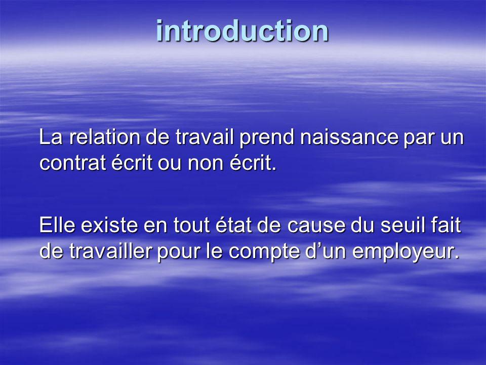 introduction La relation de travail prend naissance par un contrat écrit ou non écrit.