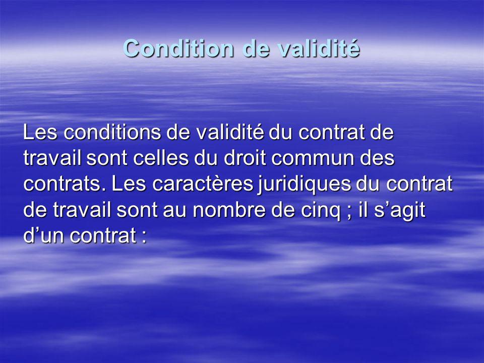 Condition de validité