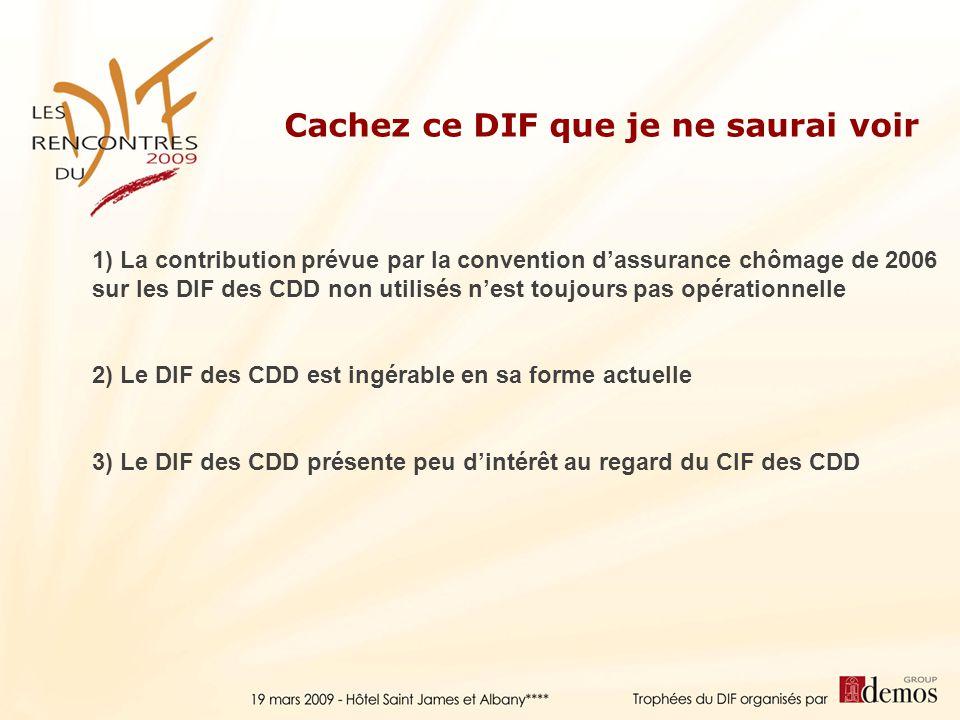 2) Le DIF des CDD est ingérable en sa forme actuelle