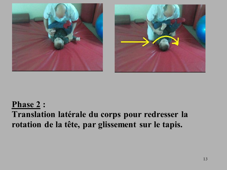 Phase 2 : Translation latérale du corps pour redresser la rotation de la tête, par glissement sur le tapis.