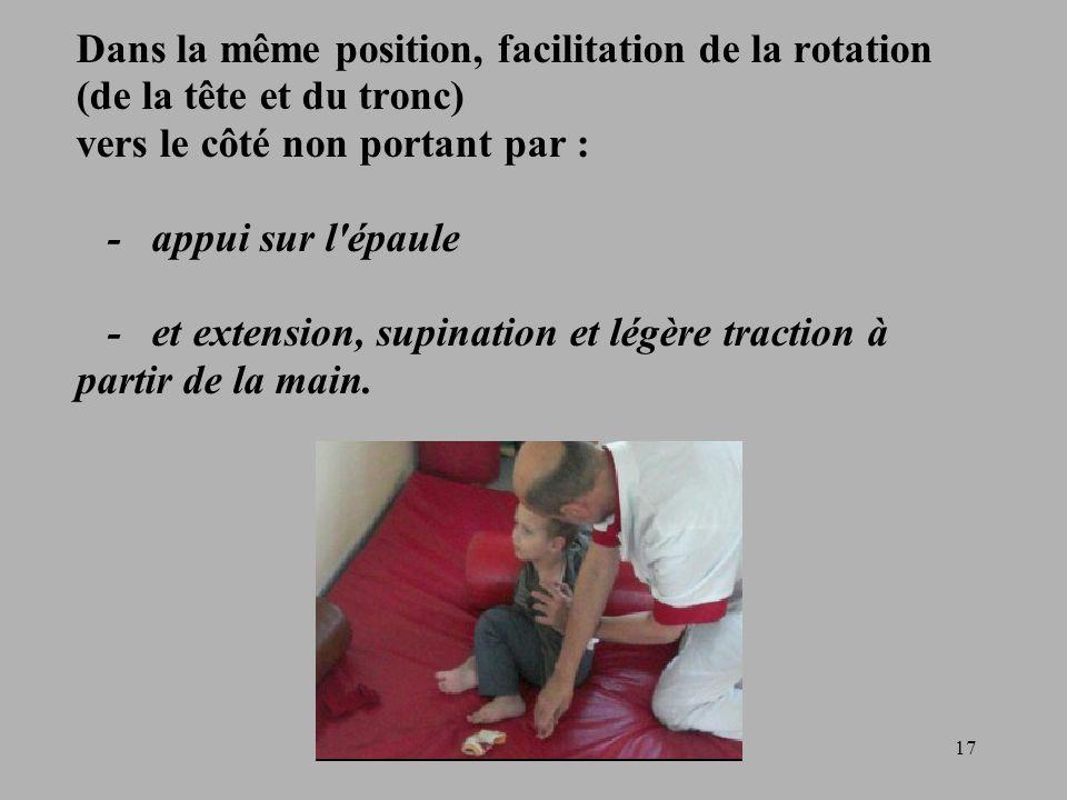 Dans la même position, facilitation de la rotation (de la tête et du tronc) vers le côté non portant par : - appui sur l épaule - et extension, supination et légère traction à partir de la main.