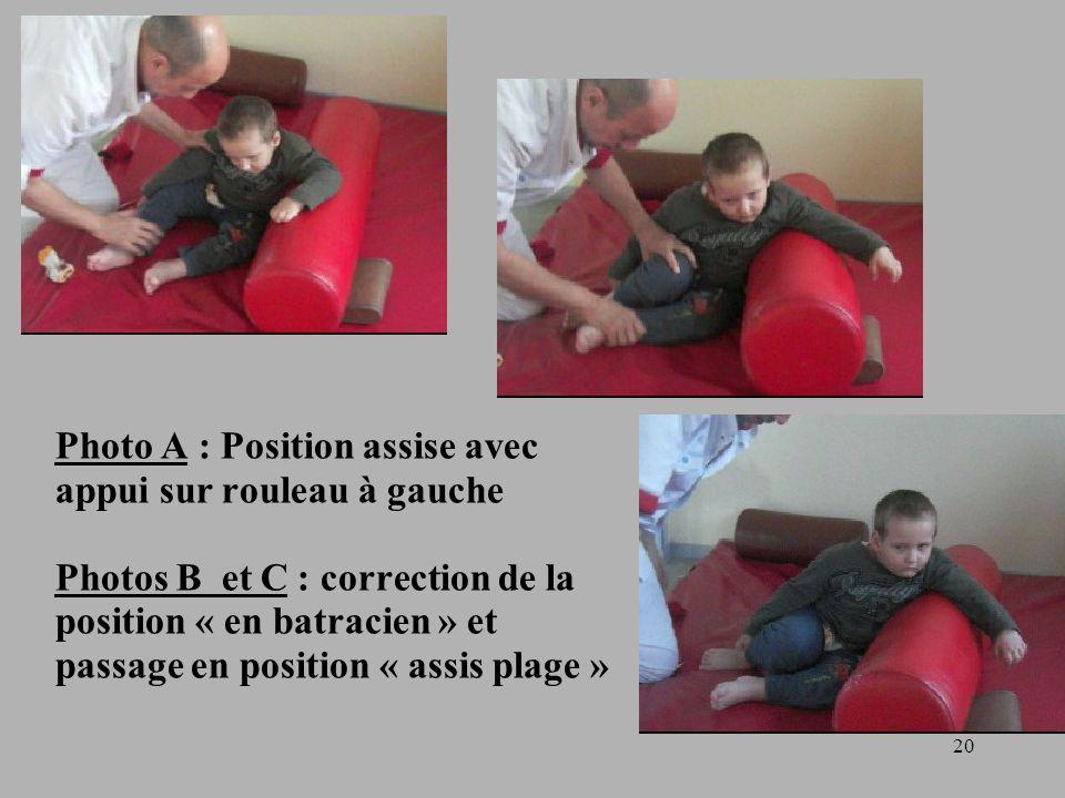 Photo A : Position assise avec appui sur rouleau à gauche Photos B et C : correction de la position « en batracien » et passage en position « assis plage »