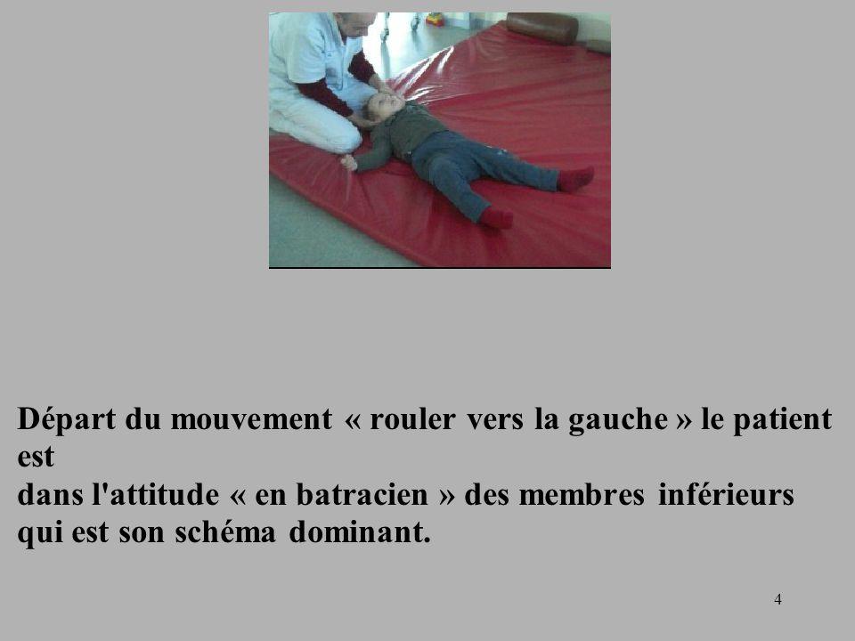 Départ du mouvement « rouler vers la gauche » le patient est dans l attitude « en batracien » des membres inférieurs qui est son schéma dominant.