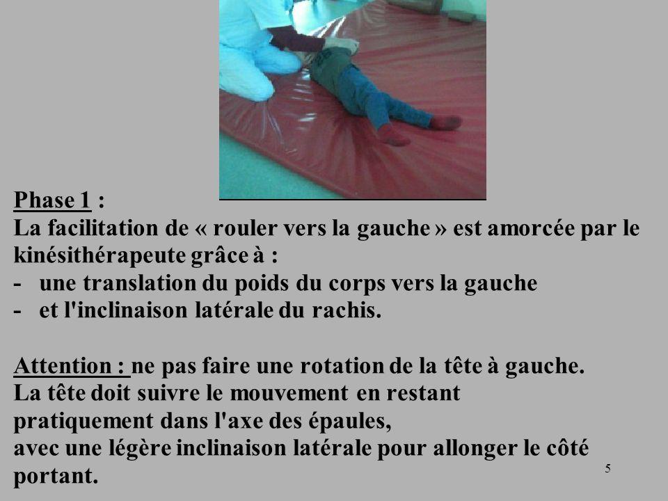 Phase 1 : La facilitation de « rouler vers la gauche » est amorcée par le kinésithérapeute grâce à : - une translation du poids du corps vers la gauche - et l inclinaison latérale du rachis.