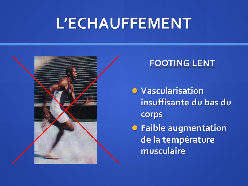 L'ECHAUFFEMENT FOOTING LENT