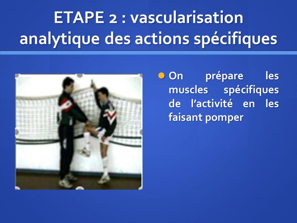 ETAPE 2 : vascularisation analytique des actions spécifiques