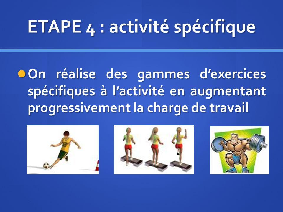 ETAPE 4 : activité spécifique