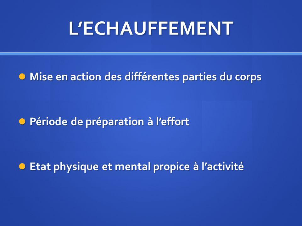 L'ECHAUFFEMENT Mise en action des différentes parties du corps
