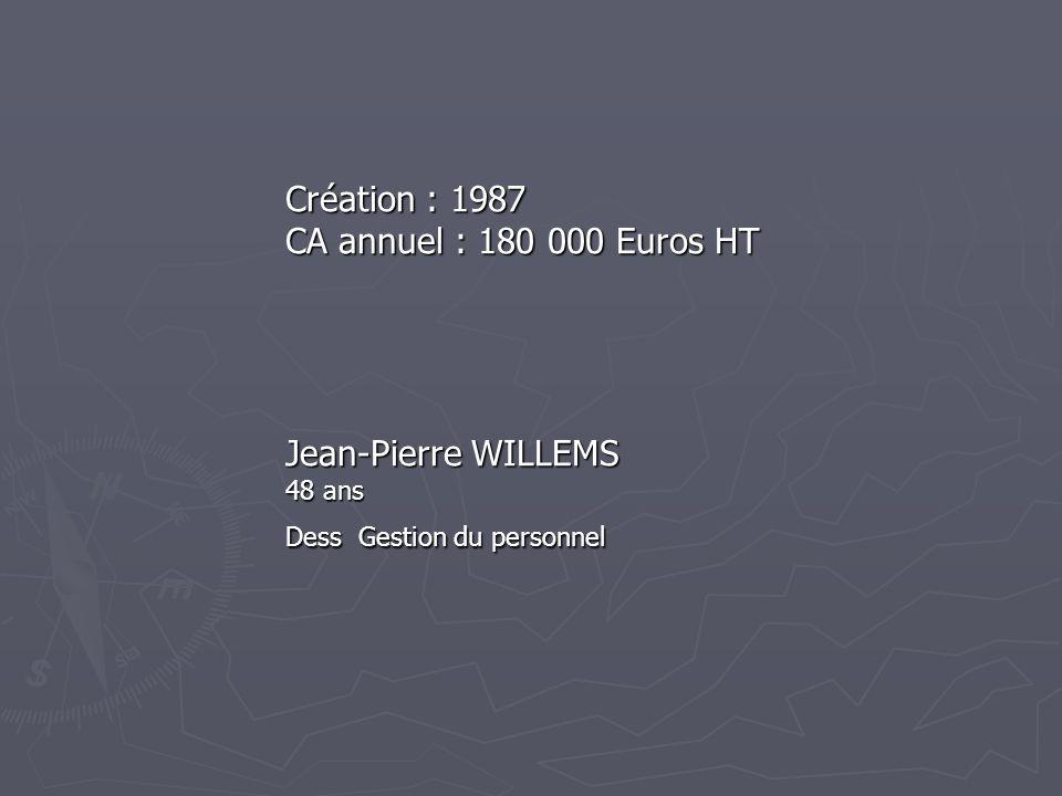 Création : 1987 CA annuel : 180 000 Euros HT Jean-Pierre WILLEMS 48 ans Dess Gestion du personnel