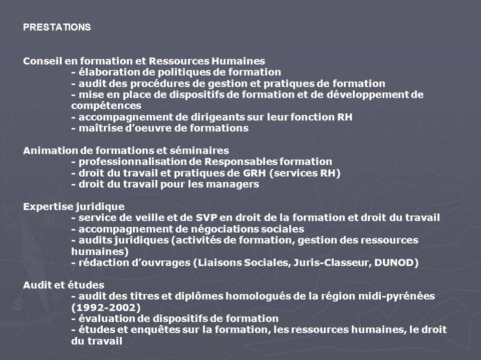 PRESTATIONS Conseil en formation et Ressources Humaines