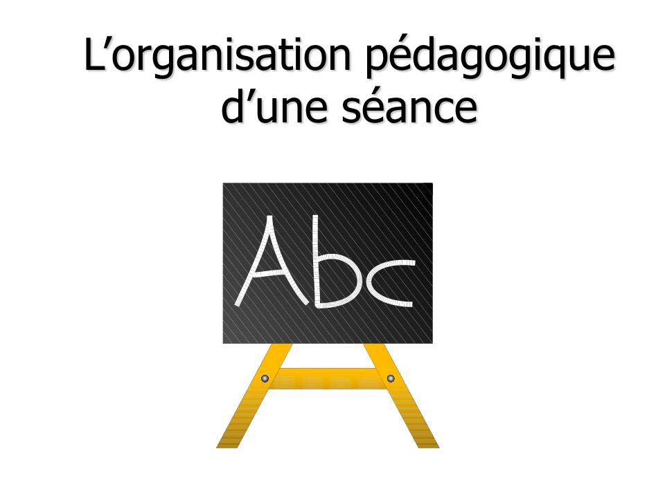 L'organisation pédagogique d'une séance