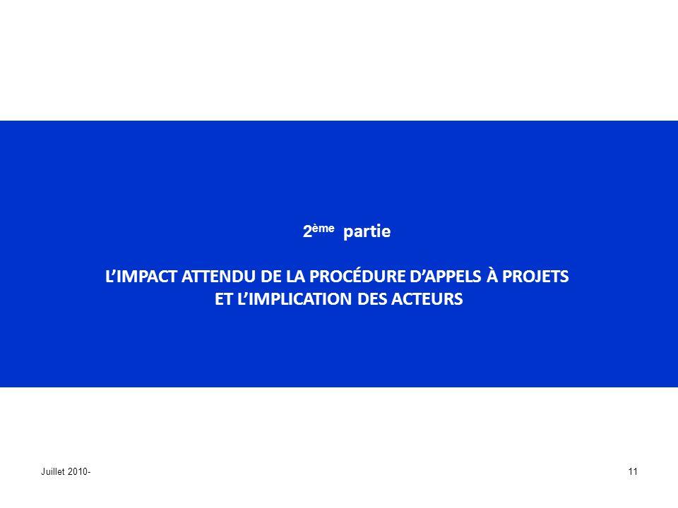 L'IMPACT ATTENDU DE LA PROCÉDURE D'APPELS À PROJETS