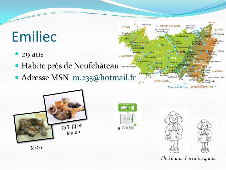 Emiliec 29 ans Habite près de Neufchâteau Adresse MSN m.235@hotmail.fr