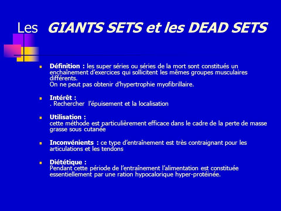 Les GIANTS SETS et les DEAD SETS