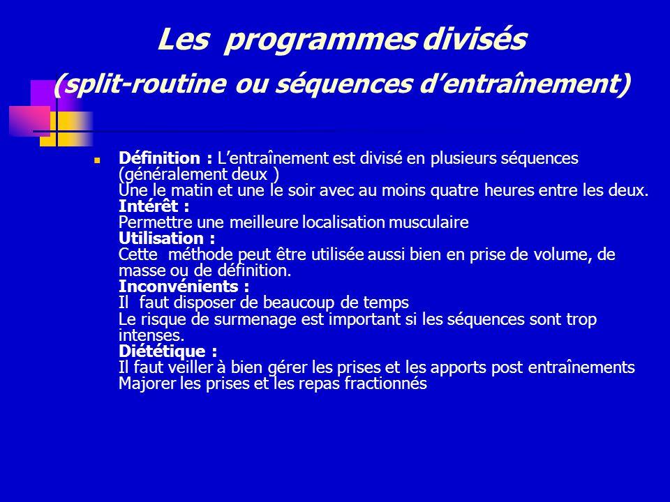 Les programmes divisés (split-routine ou séquences d'entraînement)