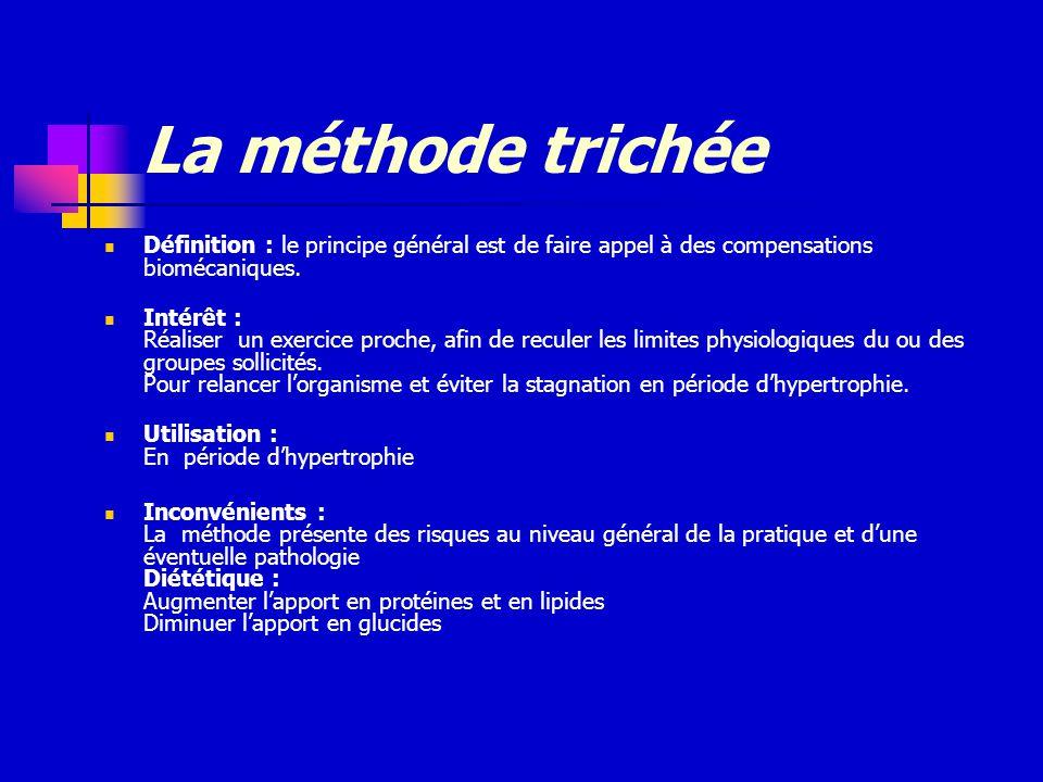 La méthode trichée Définition : le principe général est de faire appel à des compensations biomécaniques.