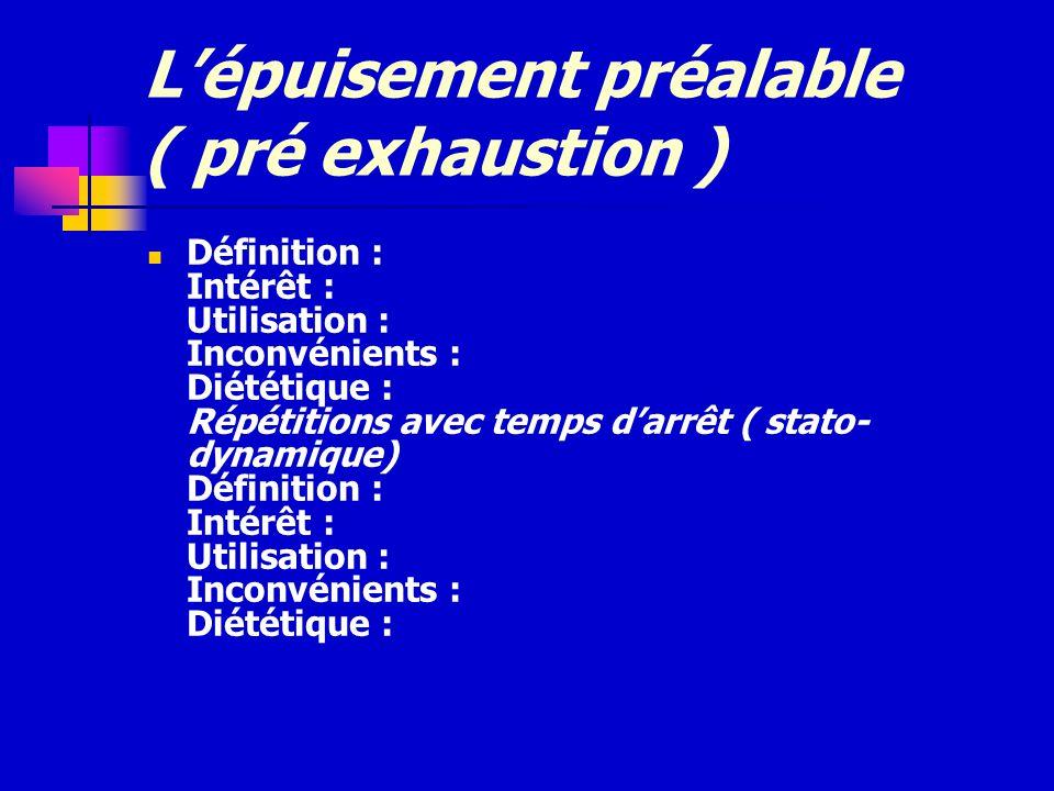 L'épuisement préalable ( pré exhaustion )