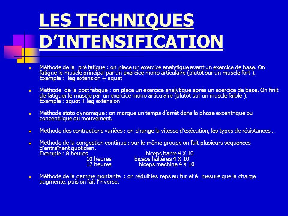 LES TECHNIQUES D'INTENSIFICATION