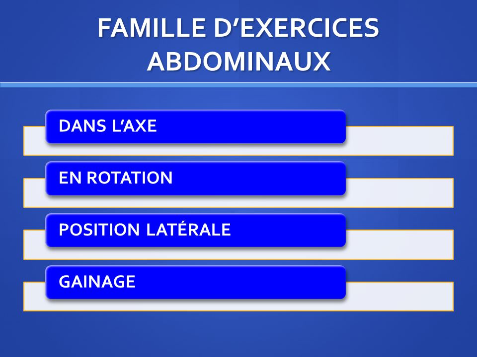 FAMILLE D'EXERCICES ABDOMINAUX