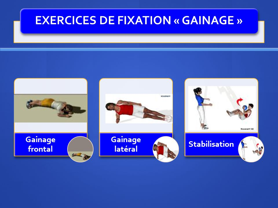 EXERCICES DE FIXATION « GAINAGE »