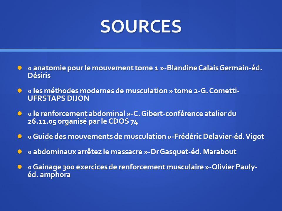 SOURCES « anatomie pour le mouvement tome 1 »-Blandine Calais Germain-éd. Désiris.