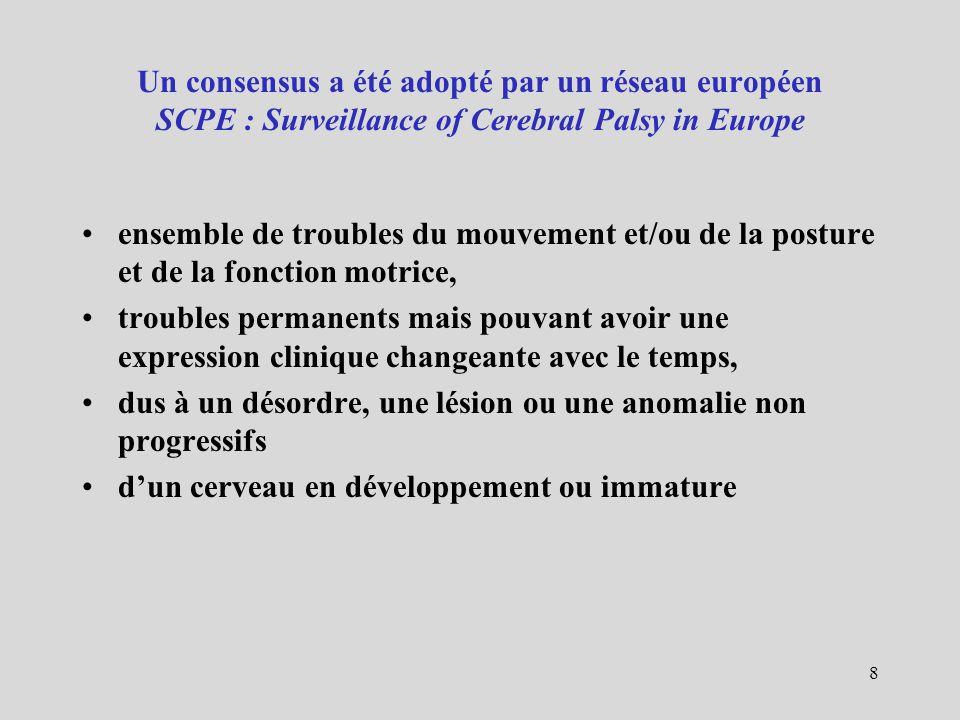 Un consensus a été adopté par un réseau européen SCPE : Surveillance of Cerebral Palsy in Europe