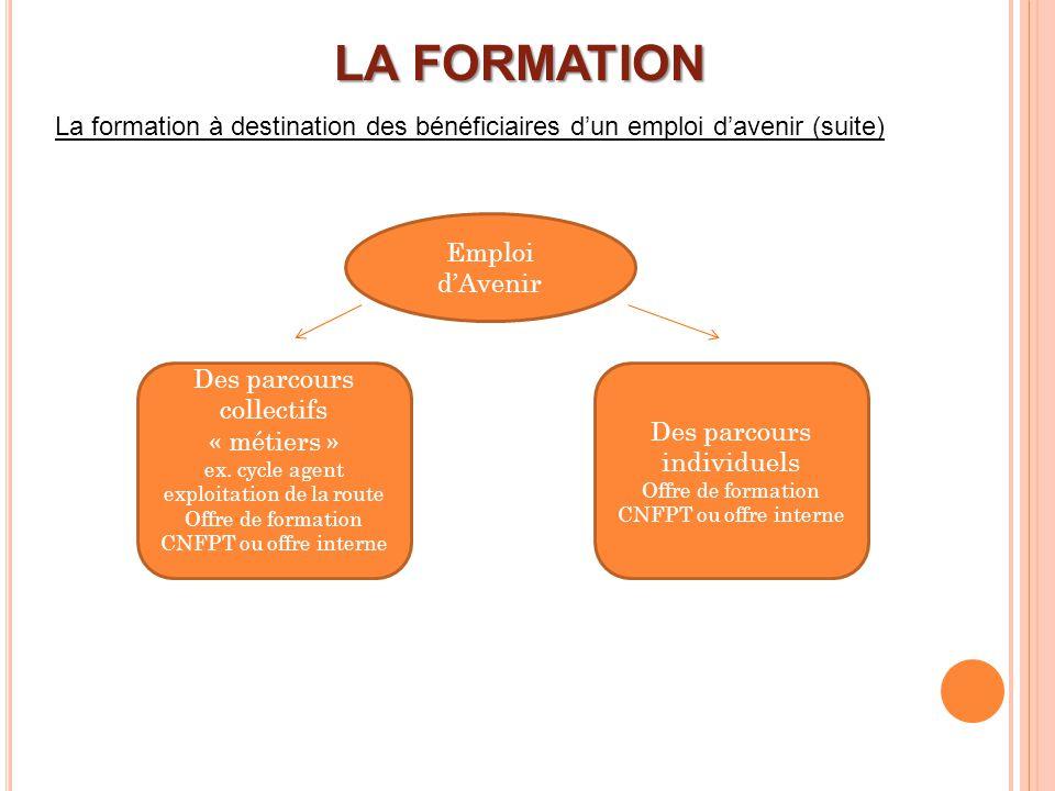 LA FORMATION La formation à destination des bénéficiaires d'un emploi d'avenir (suite) Emploi d'Avenir.