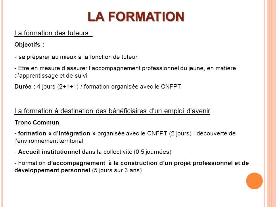 LA FORMATION La formation des tuteurs :