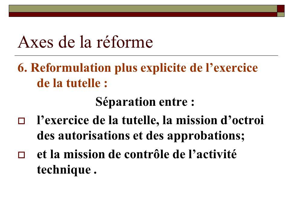 Axes de la réforme 6. Reformulation plus explicite de l'exercice de la tutelle : Séparation entre :