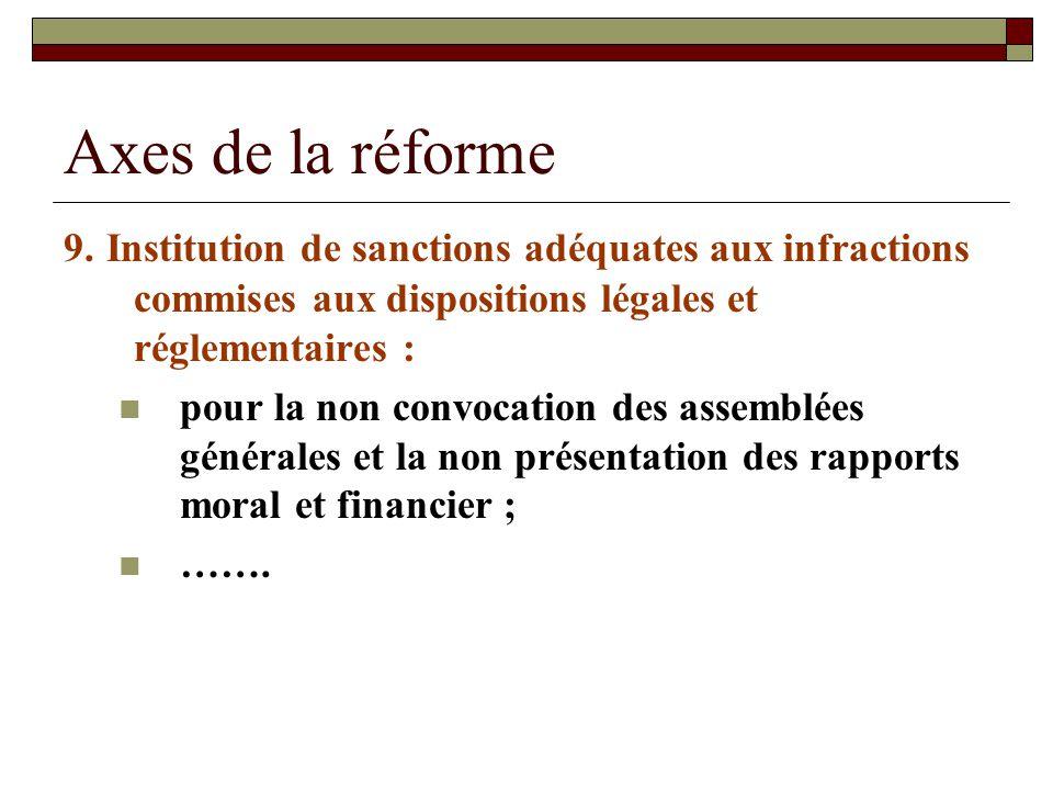 Axes de la réforme 9. Institution de sanctions adéquates aux infractions commises aux dispositions légales et réglementaires :