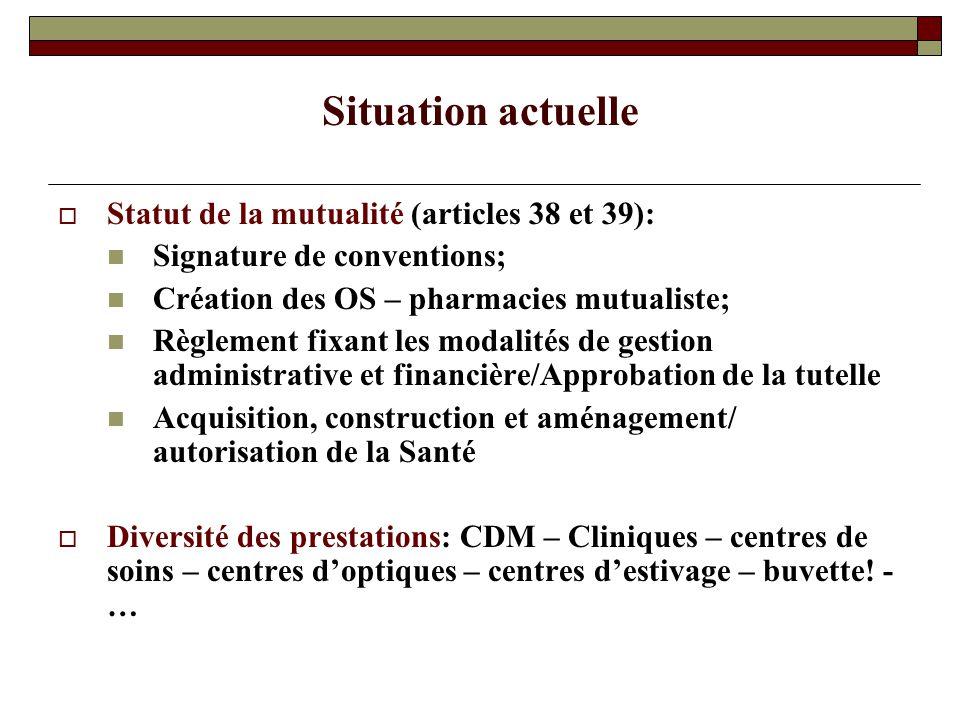 Situation actuelle Statut de la mutualité (articles 38 et 39):