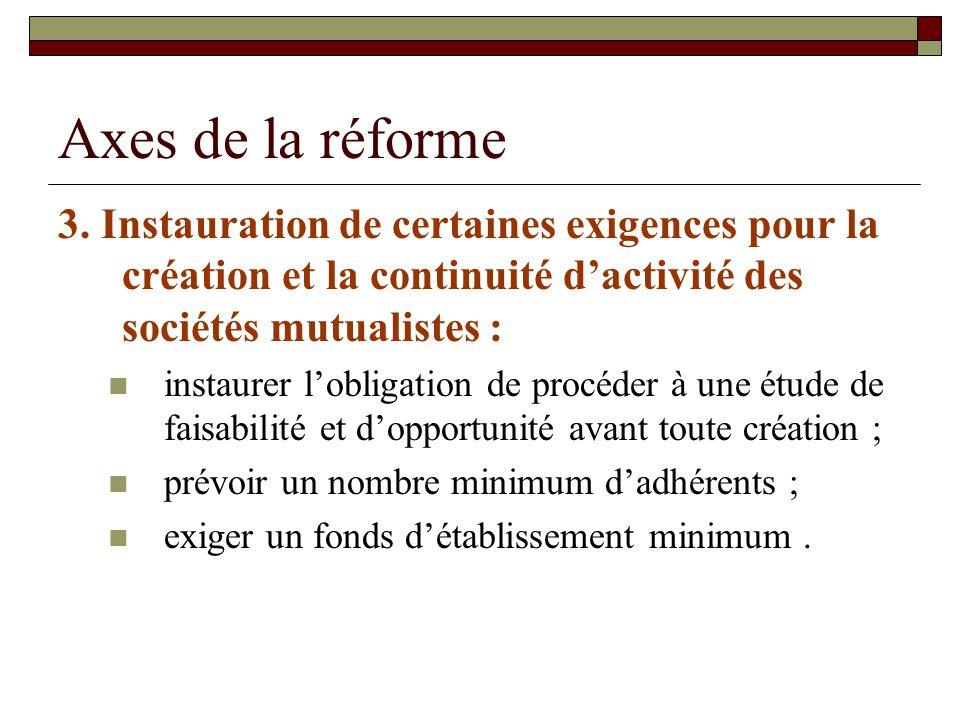 Axes de la réforme 3. Instauration de certaines exigences pour la création et la continuité d'activité des sociétés mutualistes :