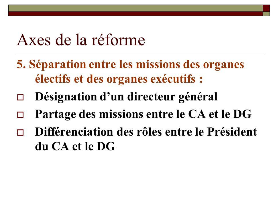 Axes de la réforme 5. Séparation entre les missions des organes électifs et des organes exécutifs :