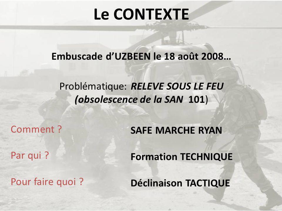 Le CONTEXTE Embuscade d'UZBEEN le 18 août 2008… Problématique: RELEVE SOUS LE FEU (obsolescence de la SAN 101)