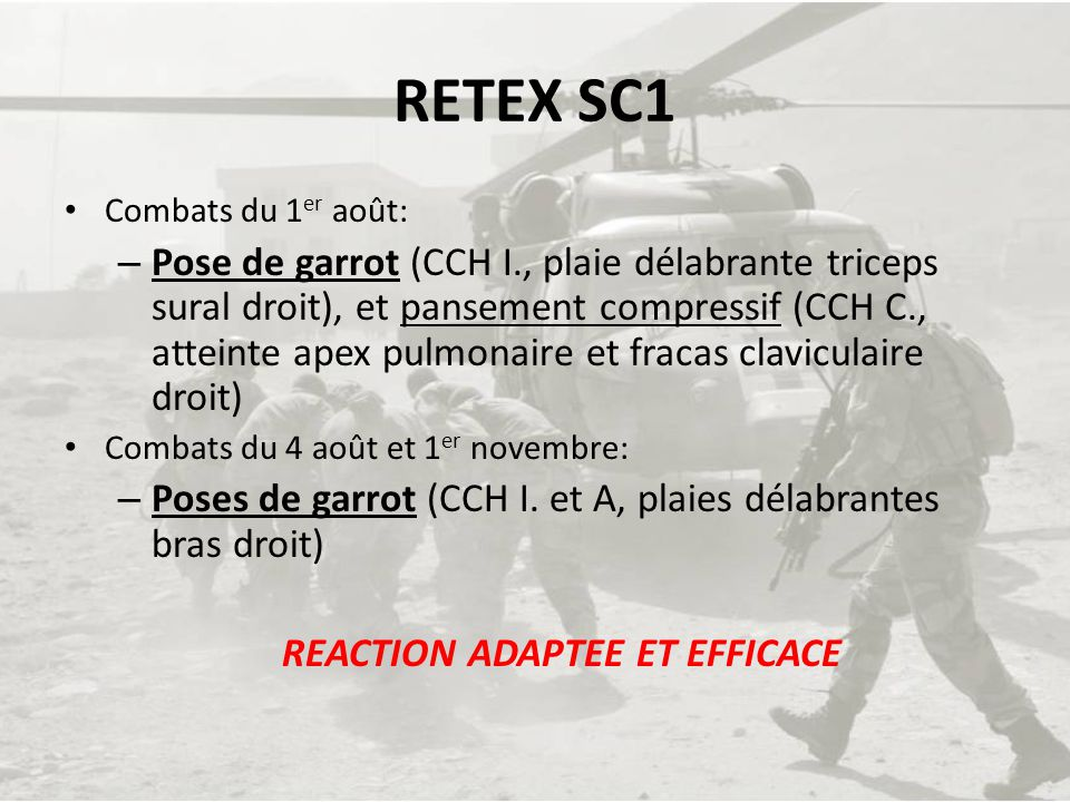REACTION ADAPTEE ET EFFICACE