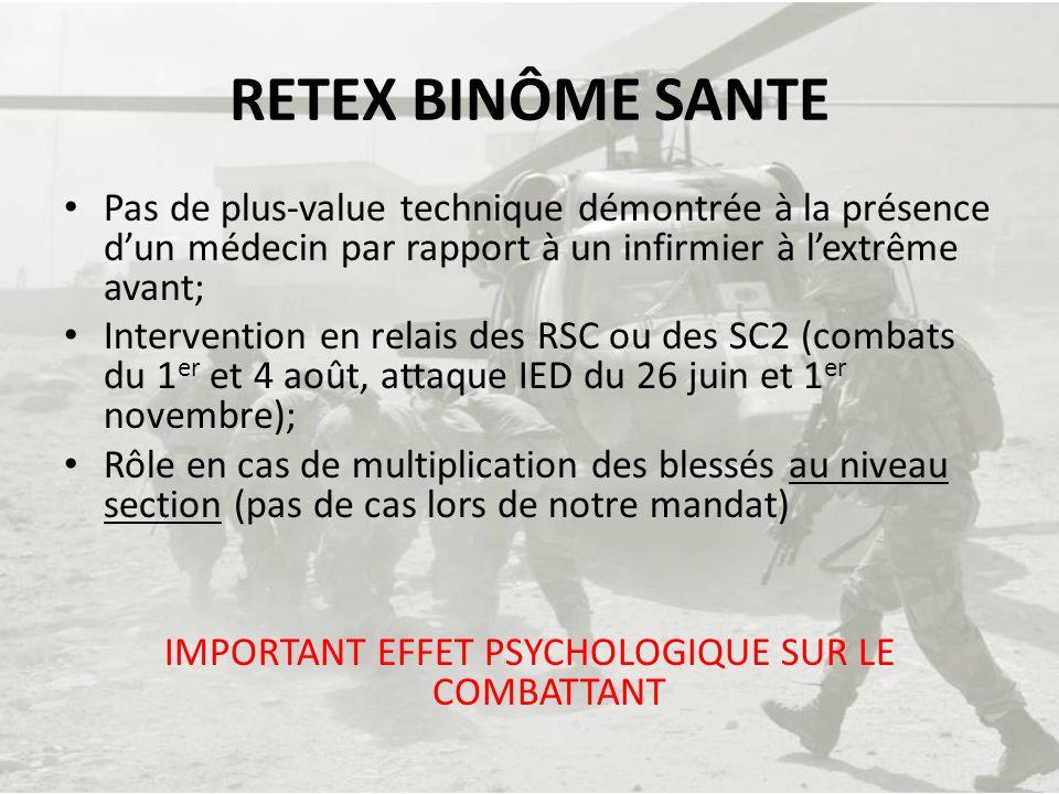 IMPORTANT EFFET PSYCHOLOGIQUE SUR LE COMBATTANT