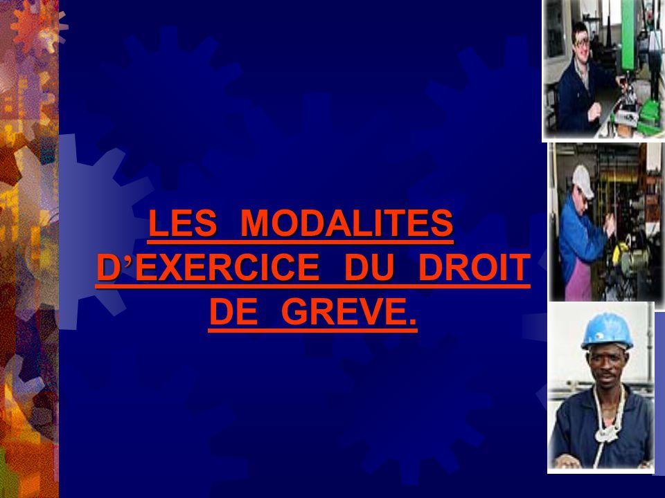 LES MODALITES D'EXERCICE DU DROIT DE GREVE.