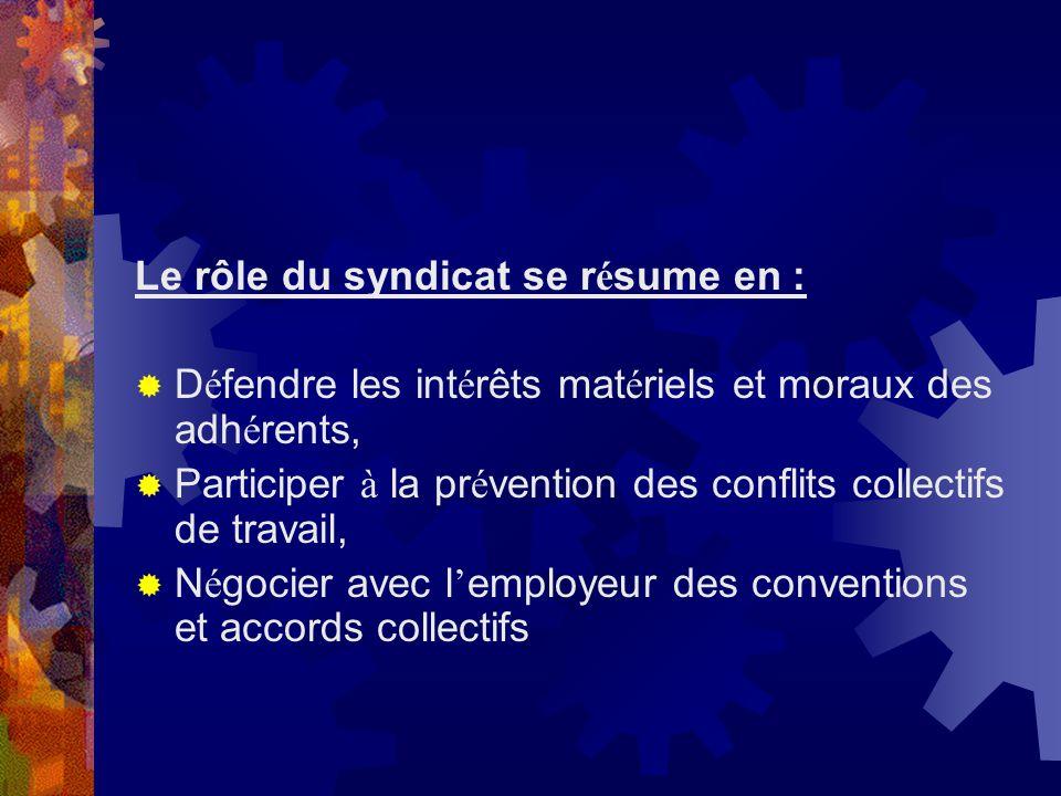 Le rôle du syndicat se résume en :