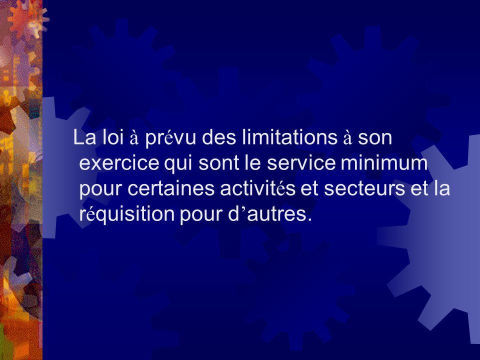 La loi à prévu des limitations à son exercice qui sont le service minimum pour certaines activités et secteurs et la réquisition pour d'autres.