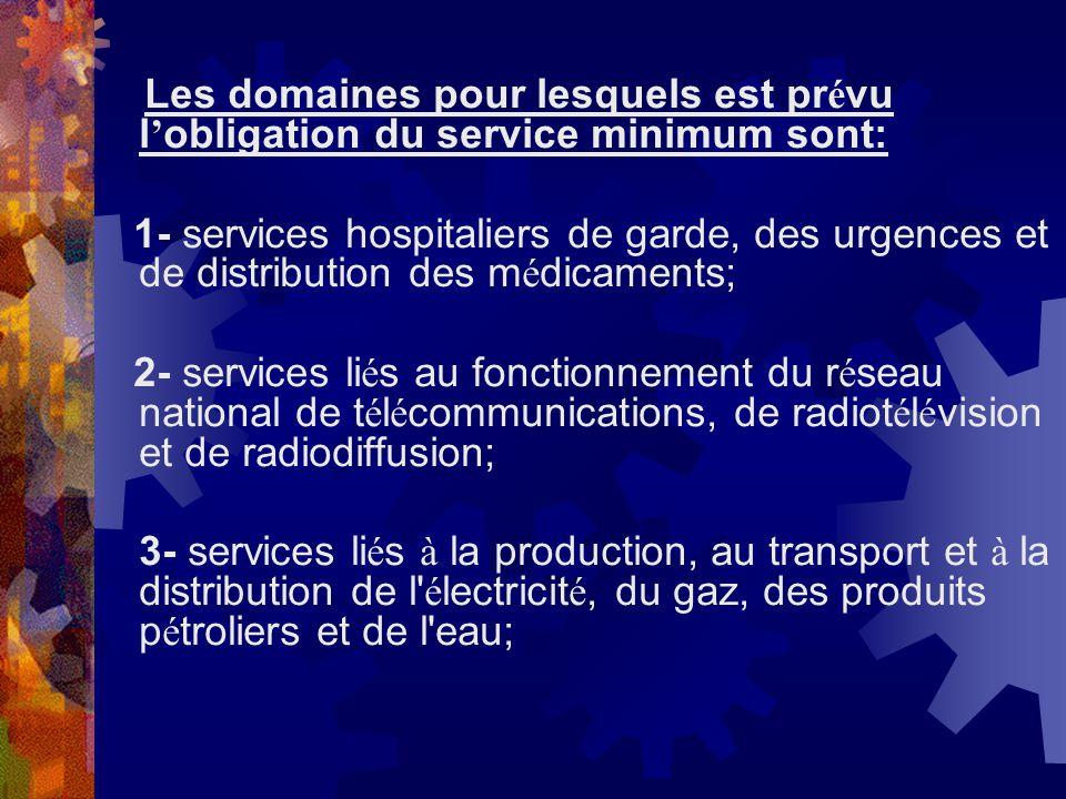 Les domaines pour lesquels est prévu l'obligation du service minimum sont: